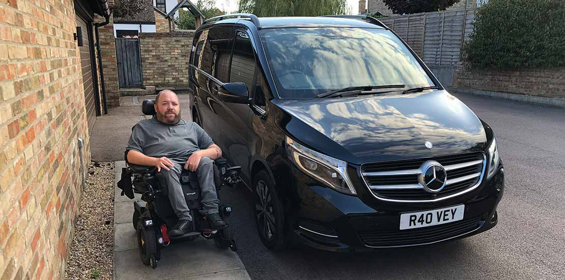 Lewis Reed Group | British Supplier of Wheelchair Accessible Vehicles | Van Wheelchair and Lift | merc outside house